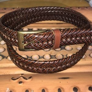 Other - Brown Leather Tab Bonded Lacing Braided Belt